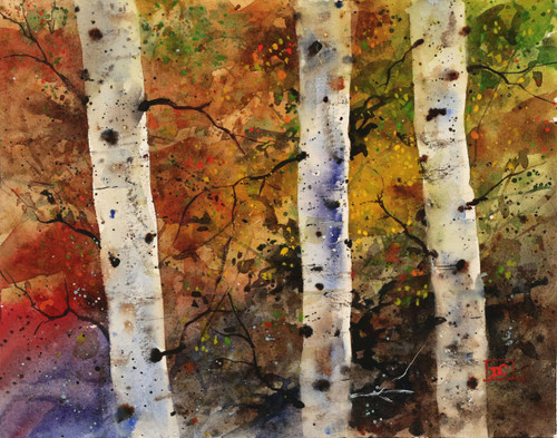 AUTUMN TREES depicts birch trees with vibrant colors of fall behind. This high quality girl' print is from an original watercolor painting by Dean Crouser.