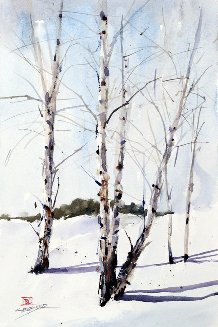 WINTER BIRCH signed and numbered giclee' print from an original watercolor painting by Dean Crouser. This painting depicts a winter scene of birch trees in the snow. Edition limited to 400 prints.