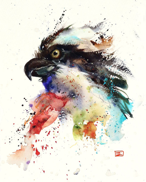 """OSPREY signed and numbered bird print from an original watercolor painting by Dean Crouser. This painting is the 'mate' to Dean's FISH HAWK painting. This painting was done as Dean simply sat down and started laying colors on paper - there was no line drawing or initial plan. He feels that his best work 'just happens"""".  Painted in Dean's loose, colorful style. Edition limited to 400 prints. Be sure to check out Dean's other nature and wildlife watercolor paintings!"""