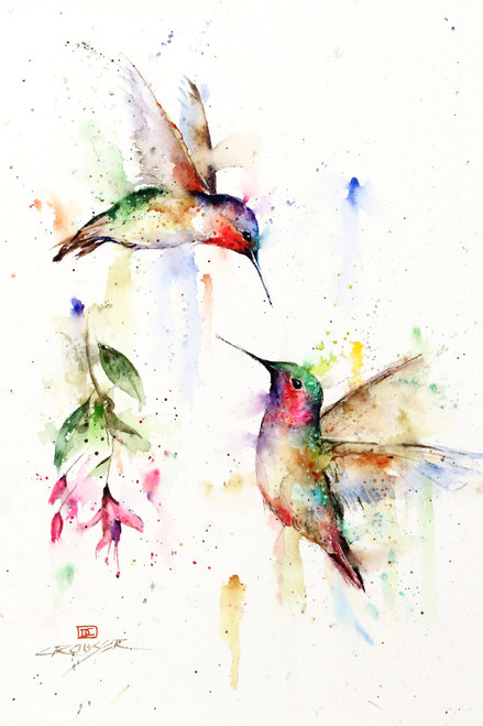 MEETING PLACE signed and numbered limited edition bird print from an original watercolor painting by Dean Crouser. This painting depicts two hummingbirds meeting at a fuchsia flower. Edition limited to 400 prints. Please check out Dean's other nature and wildlife watercolor paintings!