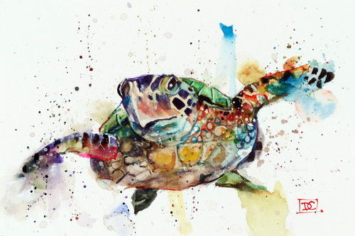 SEA TURTLE signed and numbered limited edition print from an original watercolor painting by Dean Crouser. Edition limited to 400 prints. Please check out Dean's other wildlife and marine animal watercolor art!