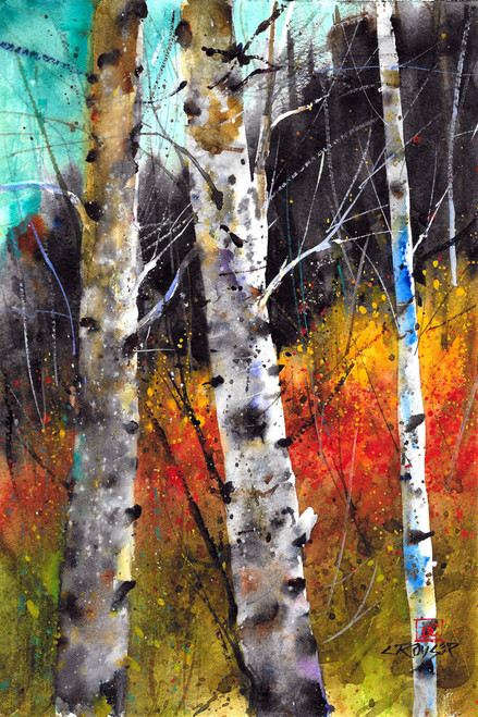 TREES ON FIRE signed and numbered giclee' print from an original watercolor painting by Dean Crouser. Scene depicts birch trees with the vibrant colors of fall ablaze in the background. Signed and numbered by the artist. Edition limited to 400 prints.  Be sure to visit and enjoy all of Dean's bird, wildlife and landscape watercolor paintings!