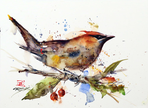 WAXWING in CRABAPPLE is a signed and numbered limited edition bird print from an original watercolor painting by Dean Crouser. Signed and numbered by the artist and edition limited to 400 prints. This painting was inspired when a group of magnificent cedar waxwings visited the Crouser's backyard crabapple tree. Dean had planted the tree years ago specifically with hope of attracting cedar waxwings so this was a big day! Be sure to visit Dean's other watercolor paintings depicting art featuring birds, wildlife, peacocks, hummingbirds and much more.