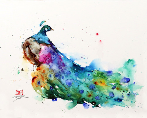 """""""SHOW STOPPER"""" limited edition peacock print. This high quality print will be signed and numbered by Dean and the edition is limited to 400 prints. This painting depicts a peacock in all his splendor and is a perfect subject for Dean's loose, colorful style. Professionally packaged for safe shipping. Thank for looking!"""