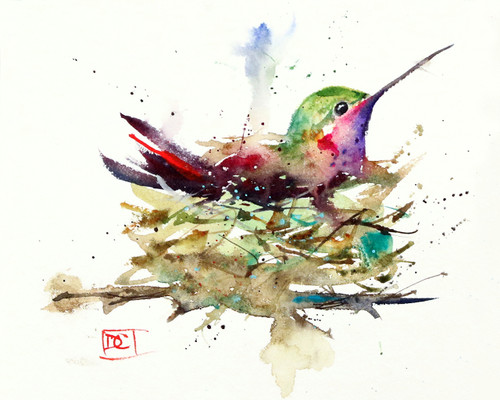 HUMMINGBIRD IN NEST limited edition giclee' print from an original watercolor painting by Dean Crouser. Painting depicts a little hummingbird waiting for the big day. Signed and numbered by the artist, edition limited to 400 prints.