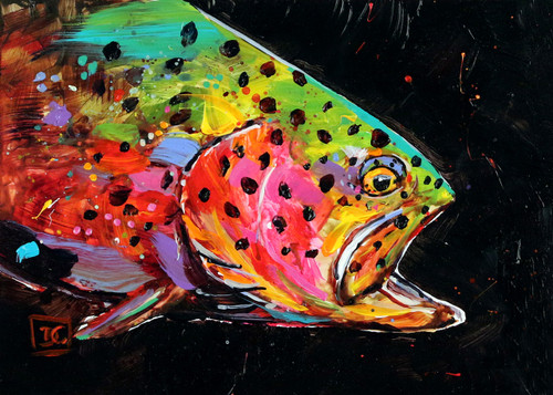 """CRAZY TROUT"" limited edition giclee' print from an original painting by Dean Crouser. Every now and then Dean takes a break from watercolors to play with acrylics. He feels that when it comes to color, ""the more the better"" and this painting is not lacking in bright, living color! Signed and numbered by the artist, edition limited to 400 prints."