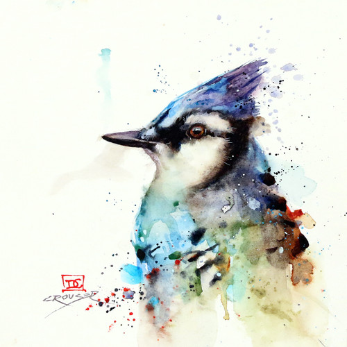 """BLUE JAY 2"" signed and numbered limited edition giclee' print from an original watercolor painting by Dean Crouser. Signed and numbered, edition limited to 400 prints. Also available in tiles, coasters, cutting boards and more."