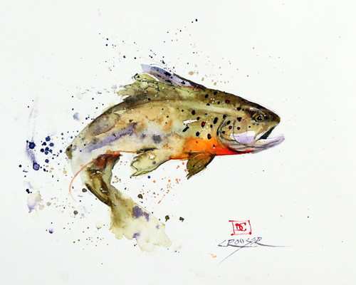 """JUMPING TROUT"" signed and numbered limited edition giclee' print from an original watercolor painting by Dean Crouser. Signed and numbered, edition limited to 400 prints. Also available in tiles, coasters, cutting boards and more."