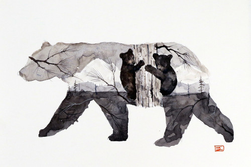 """'MAMA BEAR & CUBS"""" limited edition giclee' print from an original painting by Dean Crouser. A bit of a departure from Dean's typical use of color, this 'picture in a picture' as it tells a bit of a story. The scene depicts two bear cubs stuck up a tree while mama is on the way. This limited edition print will be signed and numbered by the artist and is limited to 400 prints."""