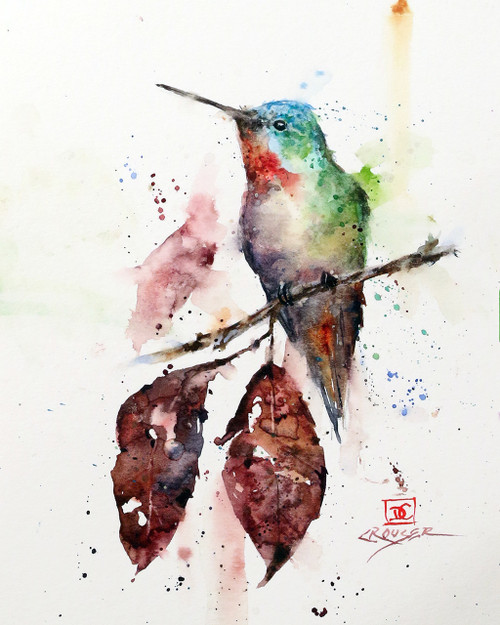 """""""AUTUMN HUMMER"""" is one of Dean's newest hummingbird watercolor paintings. It depicts a little hummer perched above two dried autumn leaves knowing that winter is just around the corner. Available in a variety of items from limited edition prints, ceramic tiles, coasters and greeting cards. Ltd edition prints are signed and numbered and edition limited to 400 prints."""