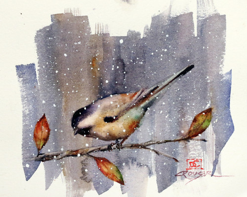"""SNOW BIRD""  depicts a chickadee perched above a few autumn leaves as the season's first snowflakes begin to fall. Available in a variety of items from limited edition prints, ceramic tiles, coasters and greeting cards. Ltd edition prints are signed and numbered and edition limited to 400 prints."