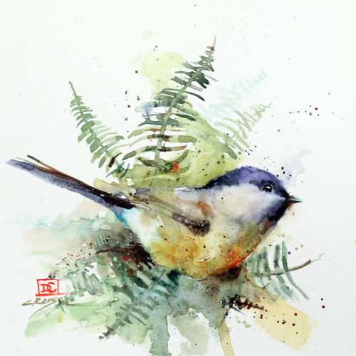 """""""CHICKADEE & FERNS"""" is one of Dean's newest bird and botanical paintings. It depicts a chickadee nestled into a small cluster of fernsl. Available in a variety of items from limited edition prints, ceramic tiles, coasters and greeting cards. Ltd edition prints are signed and numbered and edition limited to 400 prints."""
