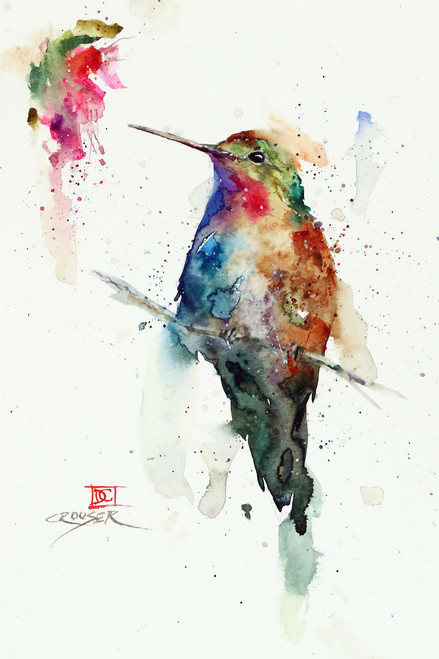 """""""AGATE"""" hummingbird art from an original watercolor painting by Dean Crouser. Available in a variety of products including signed and numbered limited edition prints, ceramic tiles, greeting cards and more!"""