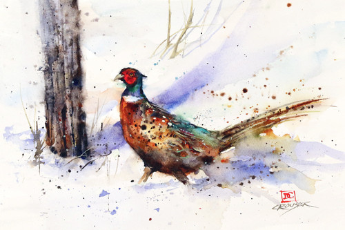 """""""BACKTRACK ROOSTER"""" pheasant art from an original watercolor painting by Dean Crouser. Available in a variety of products including signed and numbered limited edition prints, ceramic tiles, greeting cards and more!"""