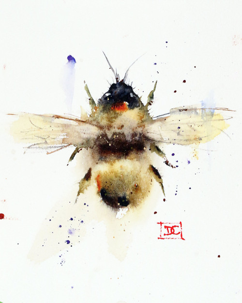 """""""BUMBLEBEE"""" bee art from an original watercolor painting by Dean Crouser. Available in a variety of products including signed and numbered limited edition prints, ceramic tiles, greeting cards and more!"""