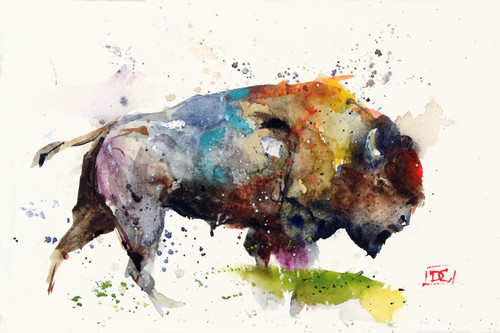 """""""BISON"""" buffalo art from an original watercolor painting by Dean Crouser. Available in a variety of products including signed and numbered limited edition prints, ceramic tiles, greeting cards and more!"""