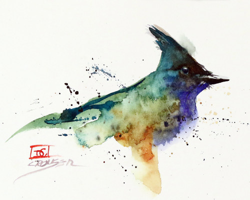 """BLUE JAY, Sketch"" bird art from an original watercolor painting by Dean Crouser. Available in a variety of products including signed and numbered limited edition prints, ceramic tiles, greeting cards and more!"
