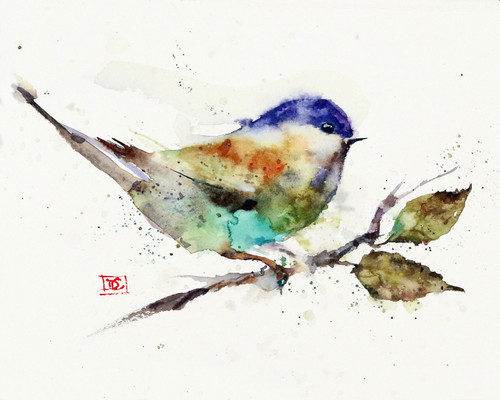 """""""CHICKADEE on BRANCH"""" bird art from an original watercolor painting by Dean Crouser. Available in a variety of products including signed and numbered limited edition prints, ceramic tiles, greeting cards and more!"""