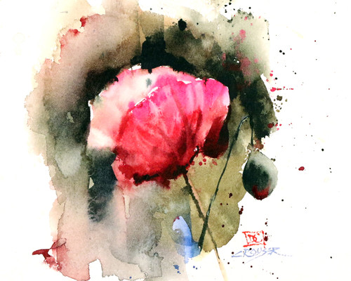 """""""EVENING POPPY"""" flower art from an original floral watercolor painting by Dean Crouser. Available in a variety of products including signed and numbered limited edition prints, ceramic tiles, greeting cards and more!"""