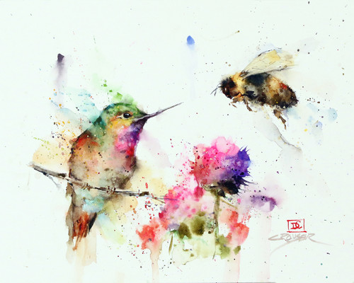 """""""GARDEN VISITORS"""" hummingbird and bee from an original watercolor painting by Dean Crouser. Available in a variety of products including signed and numbered limited edition prints, ceramic tiles, greeting cards and more!"""