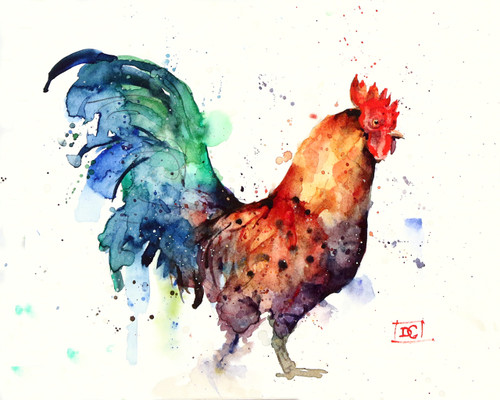"""""""GALLO"""" rooster art from an original watercolor painting by Dean Crouser. Available in a variety of products including signed and numbered limited edition prints, ceramic tiles, greeting cards and more!"""