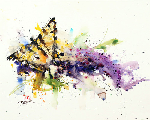 """INDULGENCE"" butterfly and flower art from an original watercolor painting by Dean Crouser. Available in a variety of products including signed and numbered limited edition prints, ceramic tiles, greeting cards and more!"