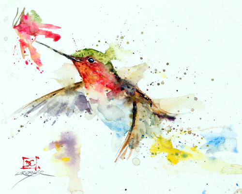 """HUMMER and FLOWER"" limited edition hummingbird art from an original watercolor painting by Dean Crouser. This image features on of Dean Crouser's loose and colorful hummingbirds speeding toward a summer flower. Available in a variety of products including ceramic tiles and coasters, greeting cards, limited edition prints and more. L/E prints are signed and numbered by the artist and edition size limited to 400. Be sure to visit Dean's other hummingbird, bird, wildlife, and nature watercolor paintings."