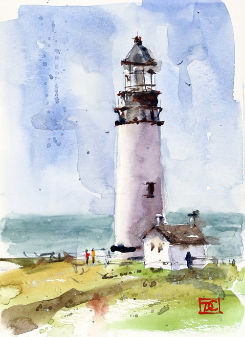 """""""LIGHTHOUSE"""" ocean art from an original watercolor painting by Dean Crouser. Available in a variety of products including signed and numbered limited edition prints, ceramic tiles, greeting cards and more!"""