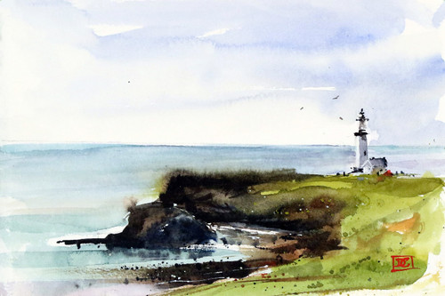 """LIGHTHOUSE"" ocean art from an original watercolor painting by Dean Crouser. Available in a variety of products including signed and numbered limited edition prints, ceramic tiles, greeting cards and more!"
