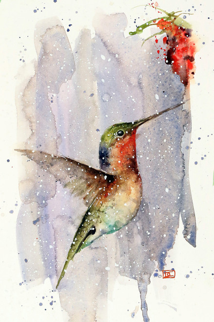 """WINTER HUMMER"" hummingbird art from an original watercolor painting by Dean Crouser. Available in a variety of products including signed and numbered limited edition prints, ceramic tiles, greeting cards and more!"