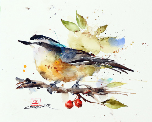 """""""NUTHATCH & BERRIES"""" bird art from an original watercolor painting by Dean Crouser. Available in a variety of products including signed and numbered limited edition prints, ceramic tiles, greeting cards and more!"""