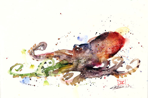 """""""OCTOPUS"""" marine art from an original watercolor painting by Dean Crouser. Available in a variety of products including signed and numbered limited edition prints, ceramic tiles, greeting cards and more!"""
