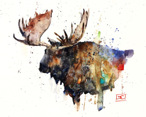 """""""NORTHERN BULL"""" moose art from an original watercolor painting by Dean Crouser. Available in a variety of products including signed and numbered limited edition prints, ceramic tiles, greeting cards and more!"""