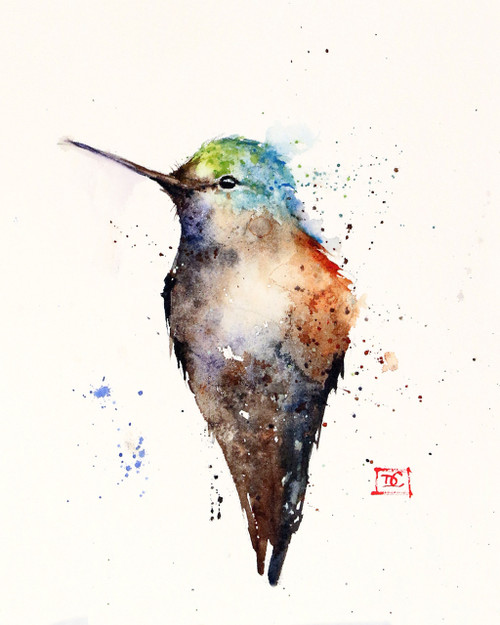 """""""JADE"""" hummingbird art from an original watercolor painting by Dean Crouser. Available in a variety of products including signed and numbered limited edition prints, ceramic tiles, greeting cards and more!"""