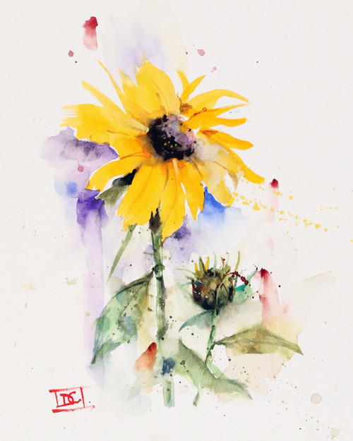 """""""SUNFLOWER & BUD"""" flower art from an original watercolor painting by Dean Crouser. Available in a variety of products including signed and numbered limited edition prints, ceramic tiles, greeting cards and more!"""