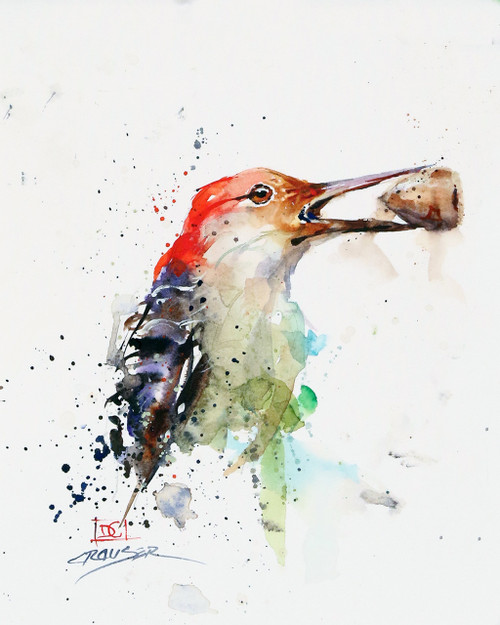 """WOODPECKER & ACORN"" bird art from an original watercolor painting by Dean Crouser. Available in a variety of products including signed and numbered limited edition prints, ceramic tiles, greeting cards and more!"