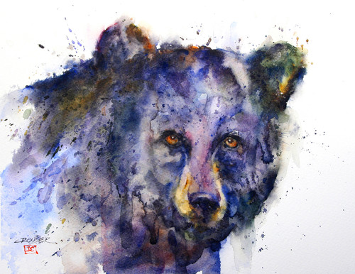 DETERMINED black bear art available in a variety of products that include signed and numbered prints, tiles, coasters and greeting cards.