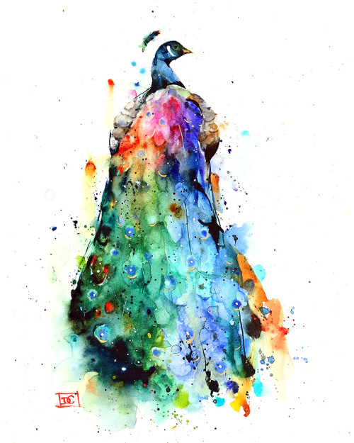 """RAINBOW PEACOCK"" bird art available in a variety of products including signed and numbered prints, ceramic tiles and coasters, greeting cards and more.  Lots of color and motion in this peacock print - hope you enjoy it.  Limited edition giclee' prints are signed and numbered by the artist. Edition limited to 400 prints. This image is portrait orientation (taller than it is wide)."