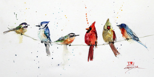 """""""BIRDS ON A WIRE"""" limited edition songbird art from an original watercolor painting by Dean Crouser. This image features several of Dean Crouser's loose and colorful birds perched atop a wire. Available in a variety of products including ceramic tiles and coasters, greeting cards, limited edition prints and more. L/E prints are signed and numbered by the artist and edition size limited to 400. Be sure to visit Dean's other hummingbird, bird, wildlife, and nature watercolor paintings."""