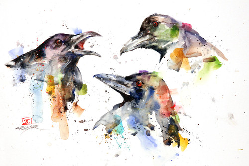 """""""The CONSPIRACY"""" signed and numbered limited edition raven print by Dean Crouser. A group of crows is a 'murder' and a group of ravens a 'conspiracy', hence the name. Prints are limited to edition size of 400. Available in a variety of products including greeting cards, ceramic tiles and coasters and more. Thanks for looking!"""