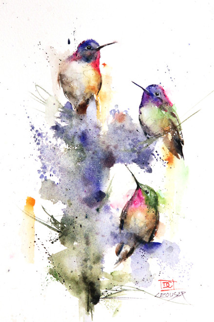 """THREE'S COMPANY"" limited edition hummingbird art from an original watercolor painting by Dean Crouser. This image depicts a group Dean Crouser's loose and colorful hummingbirds perched on a bright flower bush. Chickadee, hummingbird, cardinal, nuthatch - you will find them all. Available in a variety of products including ceramic tiles and coasters, greeting cards, limited edition prints and more. L/E prints are signed and numbered by the artist and edition size limited to 400. Be sure to visit Dean's other hummingbird, bird, wildlife, and nature watercolor paintings."