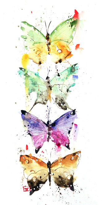 """""""FOUR BUTTERFLIES"""" butterfly art from an original painting by Dean Crouser. Available in giclee' prints, ceramic tiles and coasters, greeting cards and more. Prints are limited edition and signed and numbered. Edition limited to 400."""