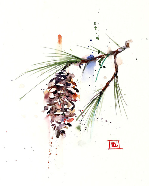 'WHITE PINE CONE' nature art print from an original watercolor painting by Dean Crouser. Available in a variety of products including signed and numbered limited edition prints, greeting cards, ceramic tiles and coasters and more. Prints are limited to edition size of 400.