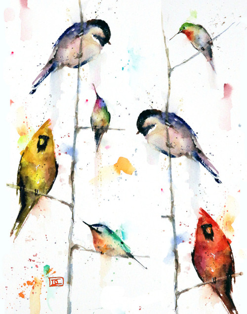 """BIRDS ON BRANCHES"" limited edition bird art from an original watercolor painting by Dean Crouser. This image depicts a group Dean Crouser's loose and colorful birds perched on tree branches. Chickadee, hummingbird, cardinal, nuthatch - you will find them all. Available in a variety of products including ceramic tiles and coasters, greeting cards, limited edition prints and more. L/E prints are signed and numbered by the artist and edition size limited to 400. Be sure to visit Dean's other hummingbird, bird, wildlife, and nature watercolor paintings."