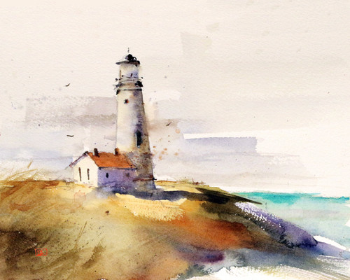 'SUMMER LIGHTHOUSE' landscape art print from an original watercolor painting by Dean Crouser. Available in a variety of products including signed and numbered limited edition prints, greeting cards, ceramic tiles and coasters and more. Prints are limited to edition size of 400.