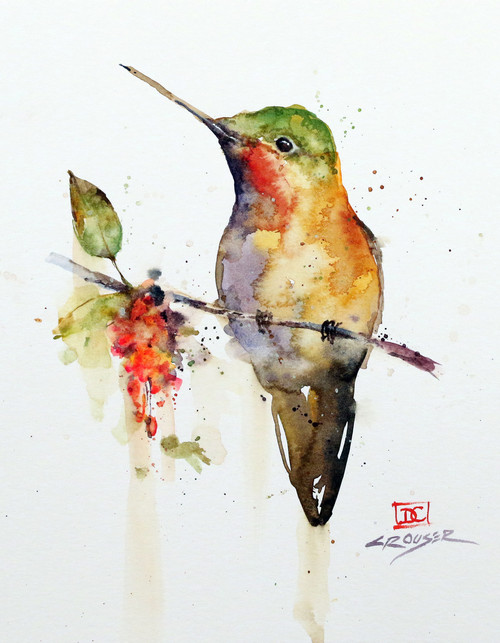 """HUMMINGBIRD on BRANCH"" bird art from an original watercolor painting by Dean Crouser. Available in a variety of products including ceramic tiles and coasters, cutting boards, greeting cards, signed and numbered prints and more. S/N prints are limited to edition size of 400."