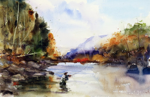 """""""AUTUMN SOLITUDE"""" fly fishing watercolor print by Dean Crouser. This scene depicts a lone fisherman surrounded by the rich colors of the fall season. Available in a variety of products including signed and numbered prints, ceramic tiles and coasters, greeting cards and more. Prints are limited to edition size of 400."""