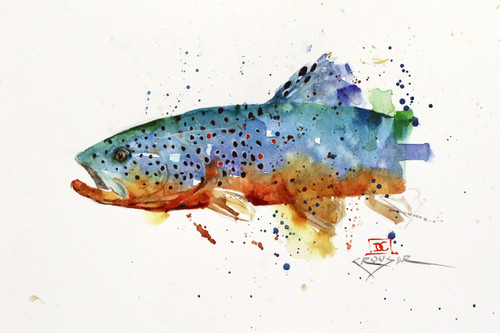 """""""SBROWN TROUT"""" fish art from an original watercolor painting by Dean Crouser. Available in a variety of products including signed prints, art tiles and coasters, cutting boards, greeting cards and more. Prints are limited to edition size of 400. Thanks for looking!"""