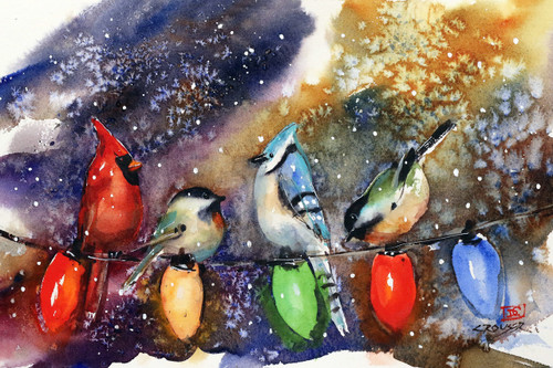 """""""HOLIDAY CHIRPERS"""" festive bird art from an original watercolor painting by Dean Crouser. Available in a variety of products including limited edition signed and numbered prints, tiles, coasters, greeting cards and more."""