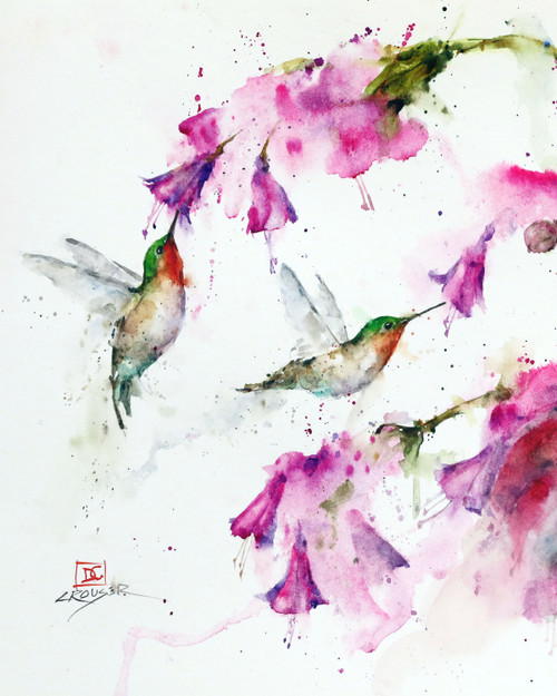 """HUMMINGBIRDS & FLORAL"" hummingbird art from an original painting by Dean Crouser. Available in a variety of products including limited edition signed and numbered prints, ceramic tiles and coasters, greeting cards and more."
